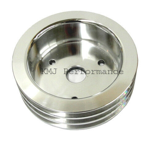 BBC Chevy 3 Groove Polished Aluminum Crank Pulley For