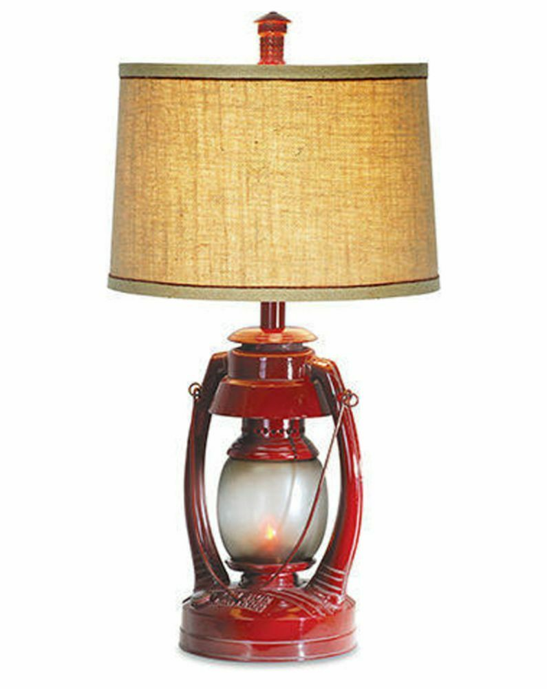 Vintage Red Lantern Table Lamp Flicker Night Light Rustic