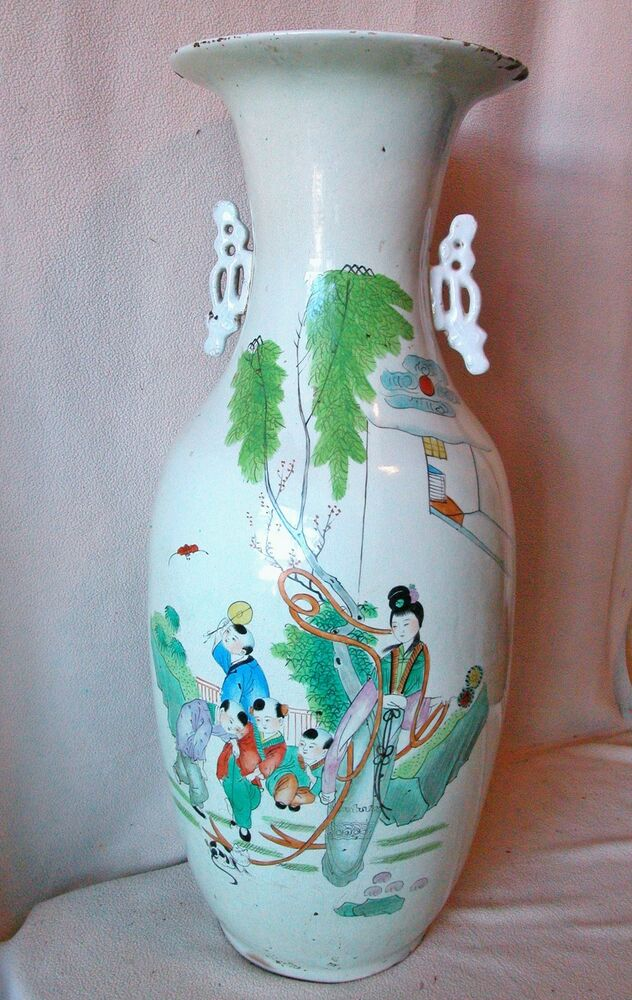 23 1 Quot Antique Signed Chinese Hand Painted Famille Rose Vase W Family Amp Poem Ebay