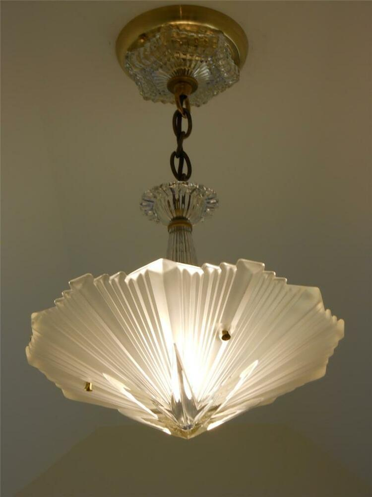 Vintage art deco ceiling light fixture chandelier american antique lamp ebay - Chandelier ceiling lamp ...
