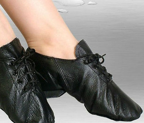 Womens Girls Black Leather Jazz Dance Ladies Kids Lace Up