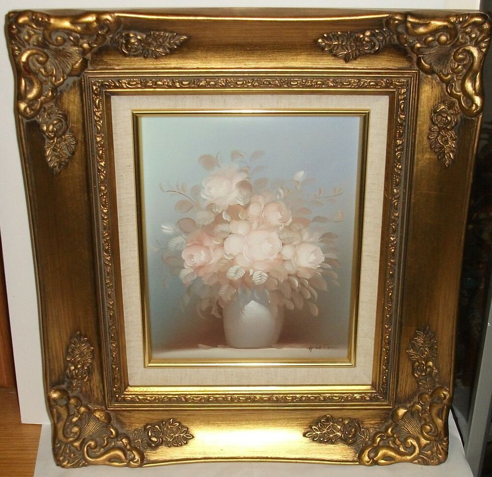HILTON ORIGINAL OIL ON CANVAS FLORAL FLOWER VASE PAINTING ...