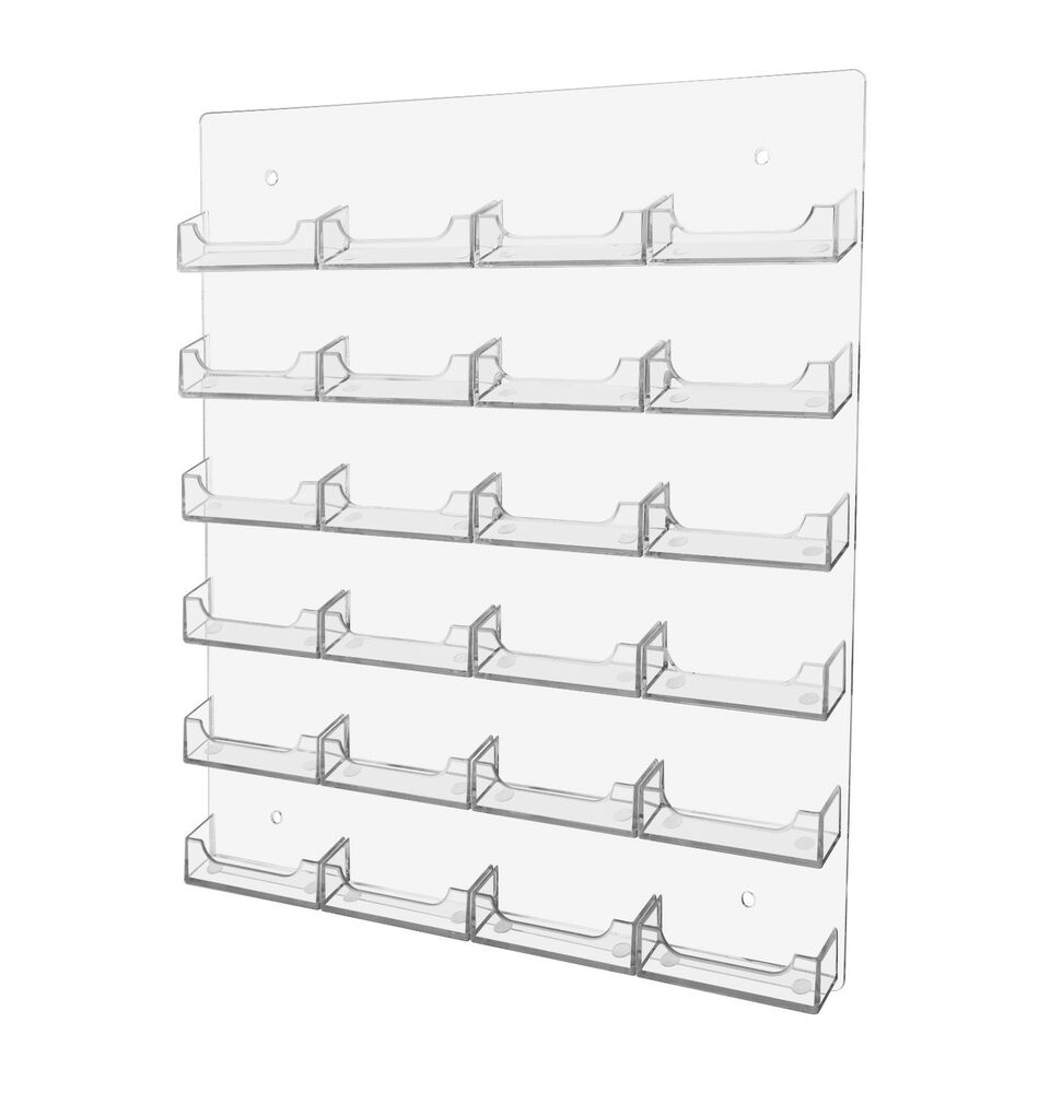 24 Pocket Business Card Holder Clear Acrilyc Horizontal Wall Mount ...
