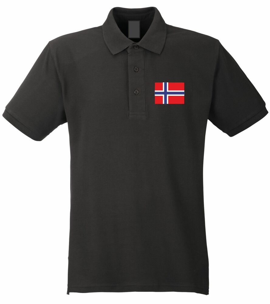 norge poloshirt schwarz weiss mit flagge m l xl xxl. Black Bedroom Furniture Sets. Home Design Ideas