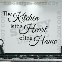 THE KITCHEN IS THE HEART OF THE HOME Quote Words Vinyl Wall Decal Decor Sticker