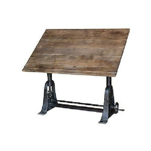 large industrial drafting table vintage wood solid iron