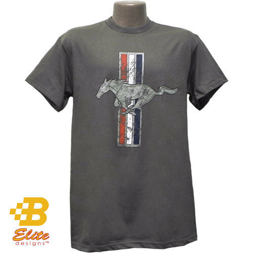 Ford Mustang Tri Bar Distressed Logo Charcoal Grey Tee