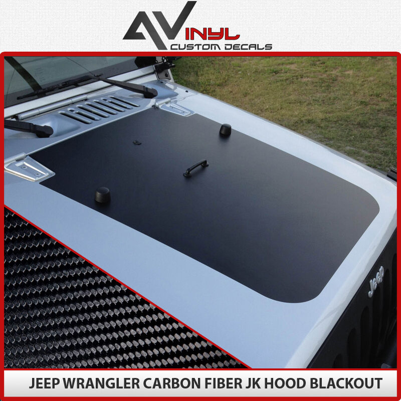 Jeep Blackout Hood Decal Black Carbon Fiber Fits Jeep