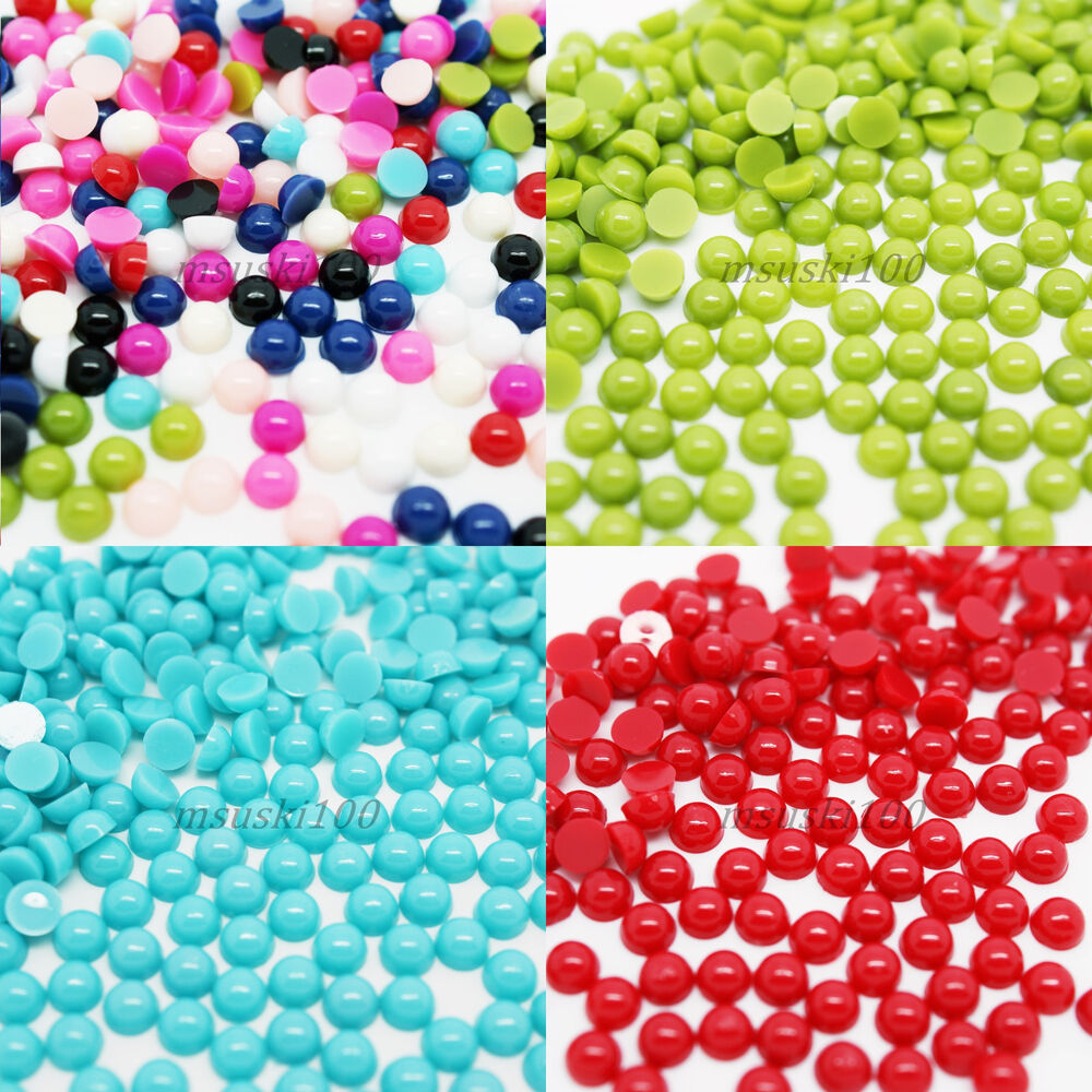 Half pearls round flat back acrylic gems nail art crafts for Plastic gems for crafts