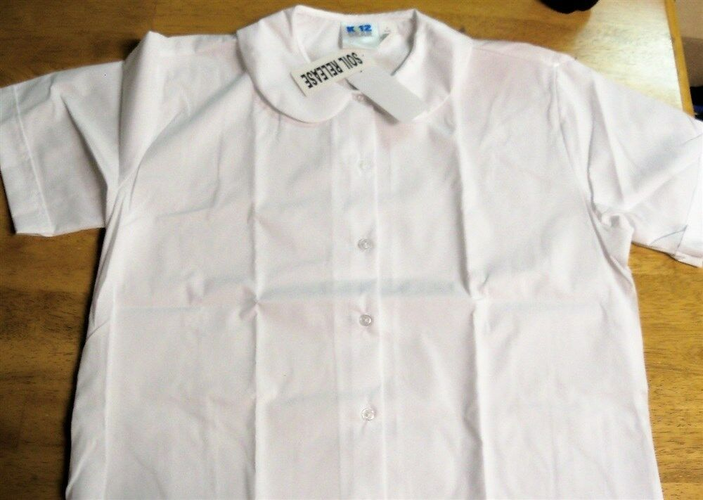 Womens k12 gear white button down uniform shirt s s sz s for Button down uniform shirts