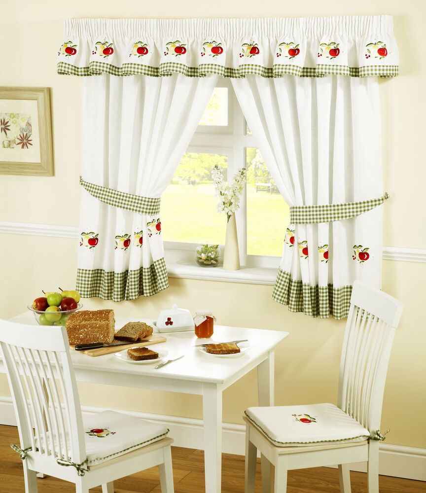 "APPLES AND PEARS GREEN RED GINGHAM KITCHEN CURTAINS W46"" X"