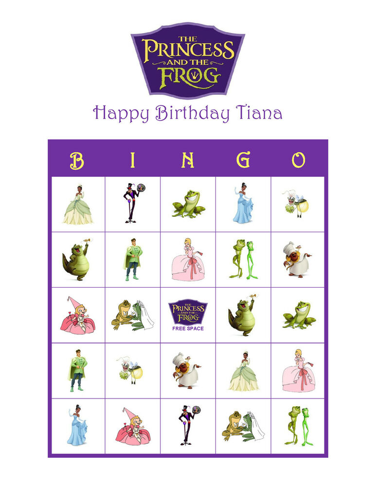 Details About The Princess And Frog Personalized Birthday Party Game Bingo Cards