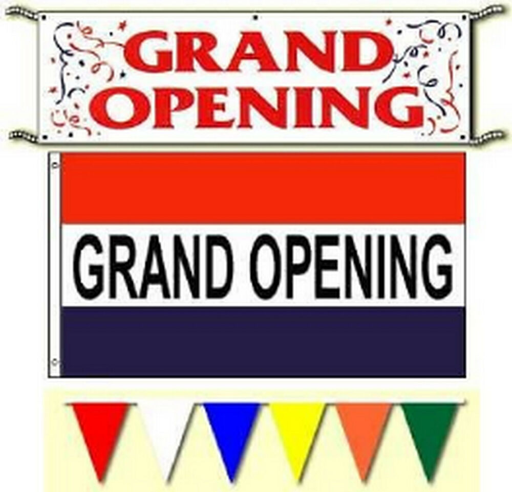 grand opening banner 3x5ft flags  pennants sign package  free same day ship