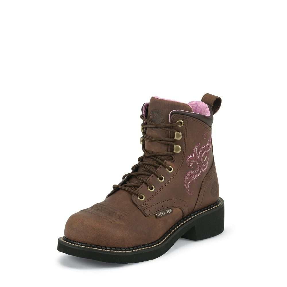 s justin wkl991 aged bark leather lace up