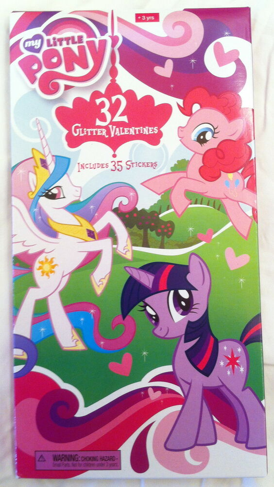 my little pony friendship is magic box of 32 glitter valentines with 35 stickers ebay. Black Bedroom Furniture Sets. Home Design Ideas