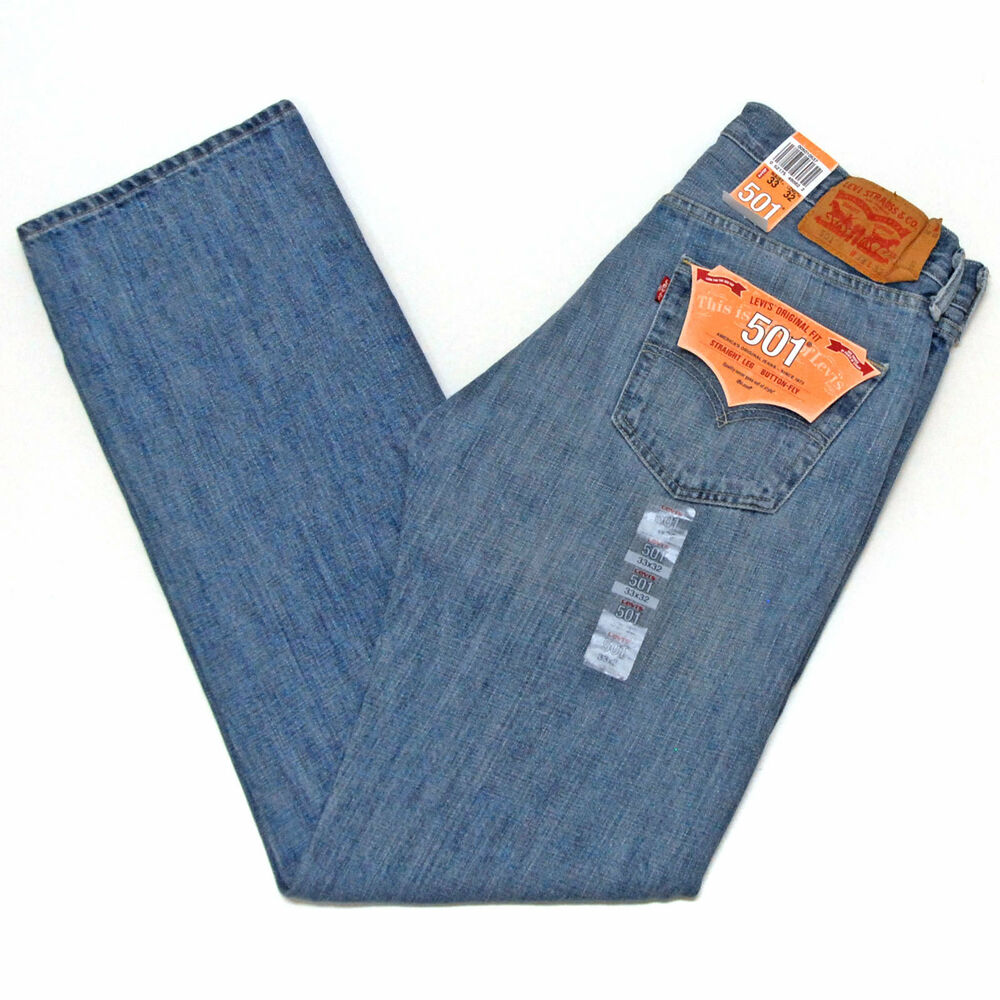 levis 501 jeans mens button fly original fit light mist blue denim 0537 red tab ebay. Black Bedroom Furniture Sets. Home Design Ideas