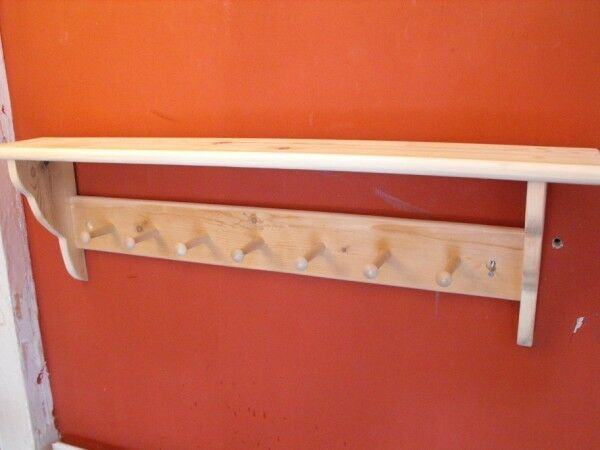 Wooden coat peg rack shaker style with shelf pine 7 pegs for Peg rail ikea