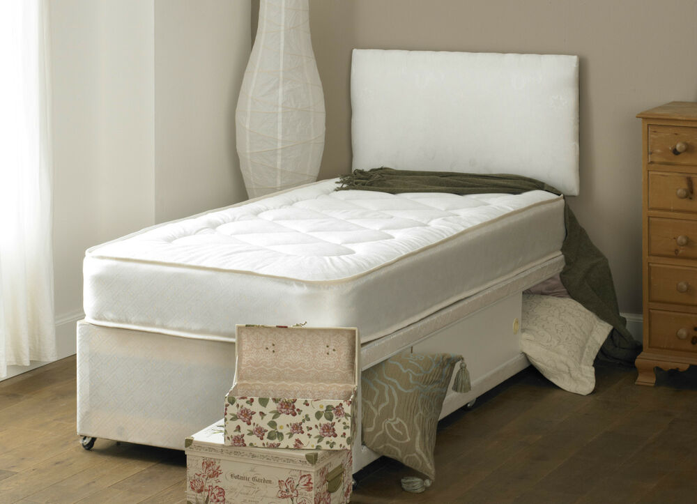 Double deep quilt 4ft6 divan bed and mattress headboard for Cheap single divan