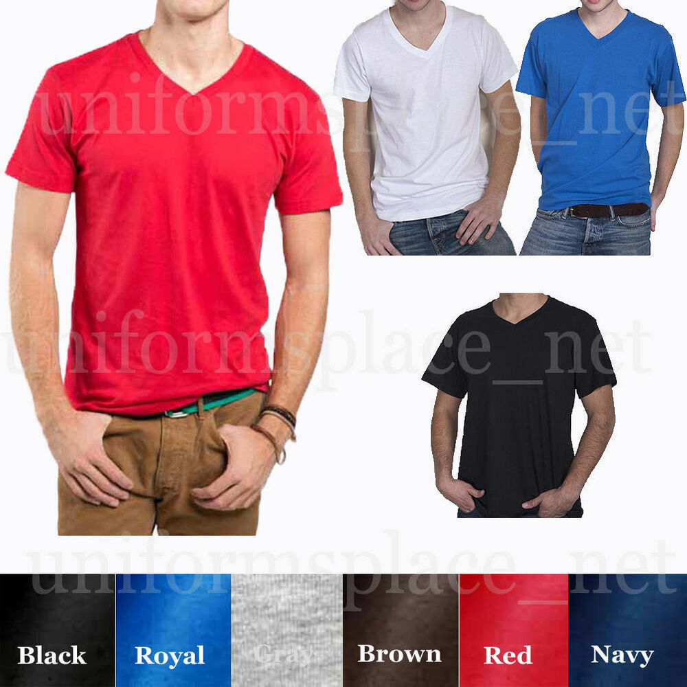 Mens basic v neck t shirts plain solid color shirts tee for Plain colored v neck t shirts