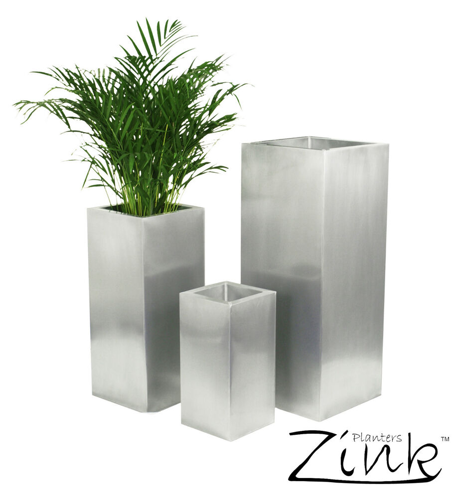 Zinc silver steel metal tall cube planter garden indoor for Design indoor plant pots uk