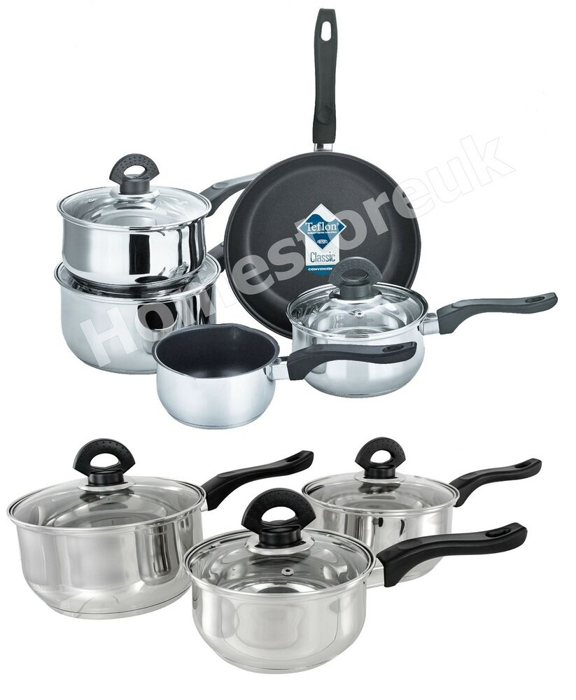 Set Of 3 5 Induction Glass Lid Saucepan Non Stick Frying