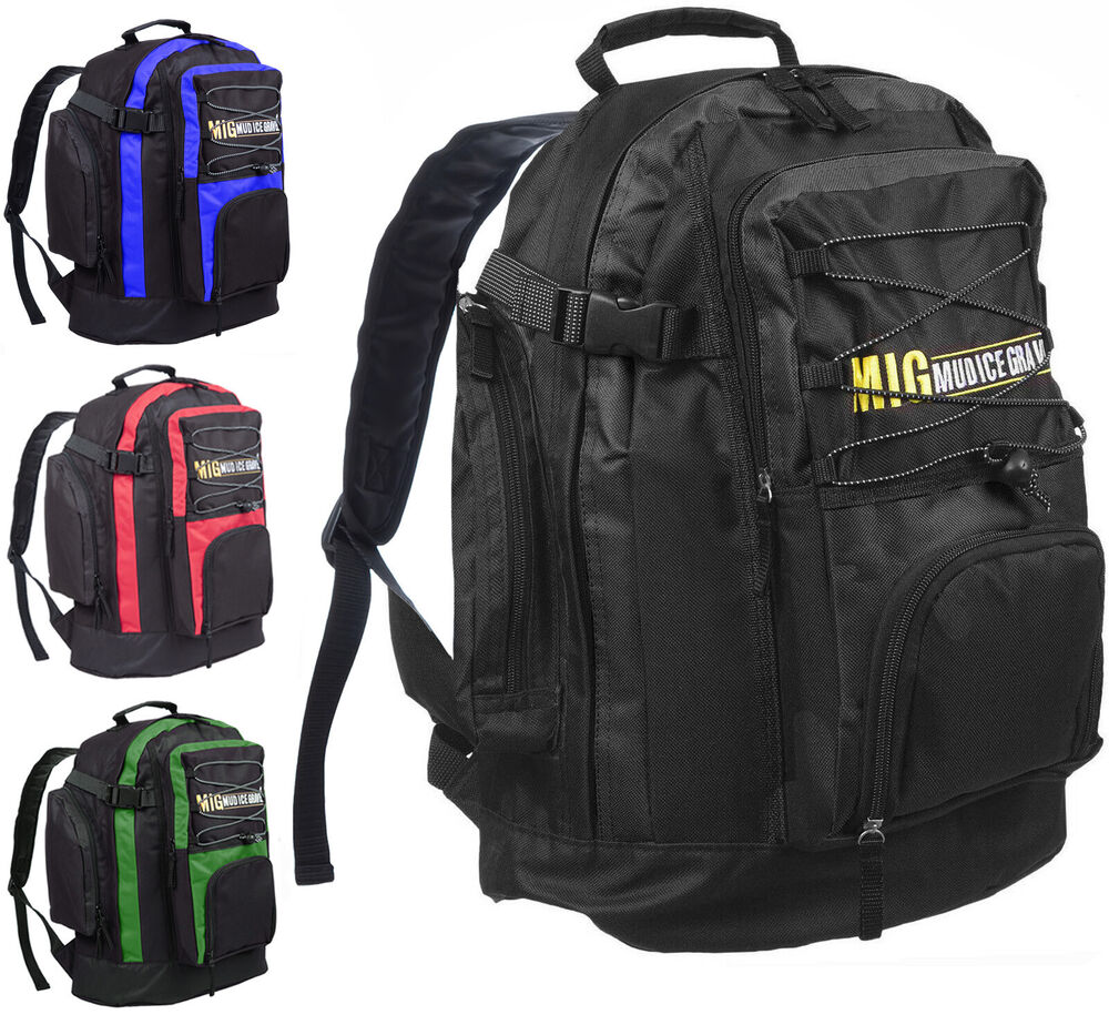 Mens Canvas Large Backpack Rucksack Work Sports Travel Hiking College School Bag