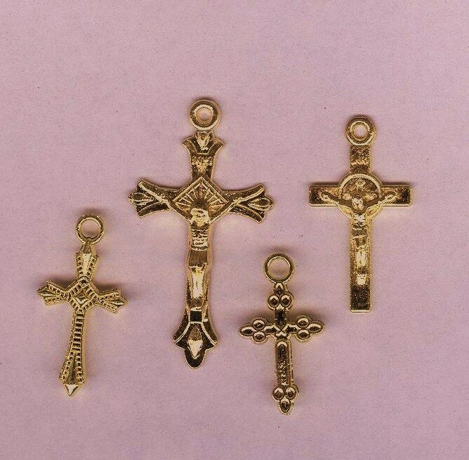 4 Different Gold Color Religious Rosary Cross Pendant