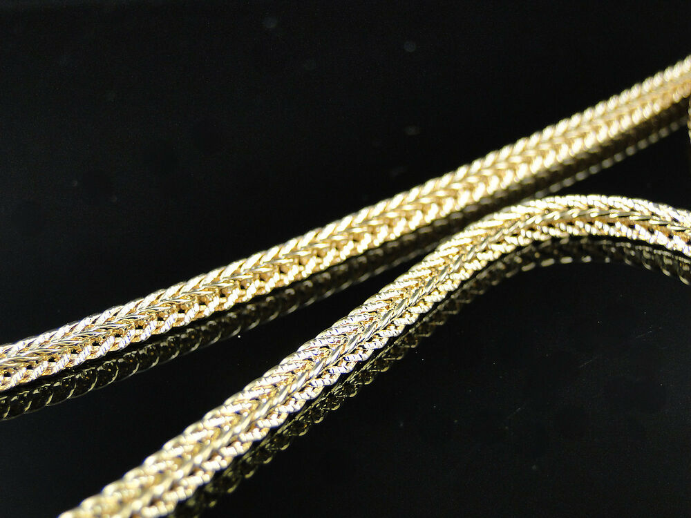 Mens Or Ladies Yellow Gold Finish 3mm 36 Inch Franco Cuban Chain Hiphop Necklace Ebay