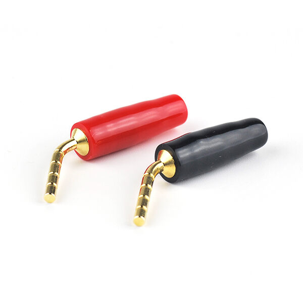 2 pairs audio speaker cable pin wire plug banana connector needle red and black ebay. Black Bedroom Furniture Sets. Home Design Ideas