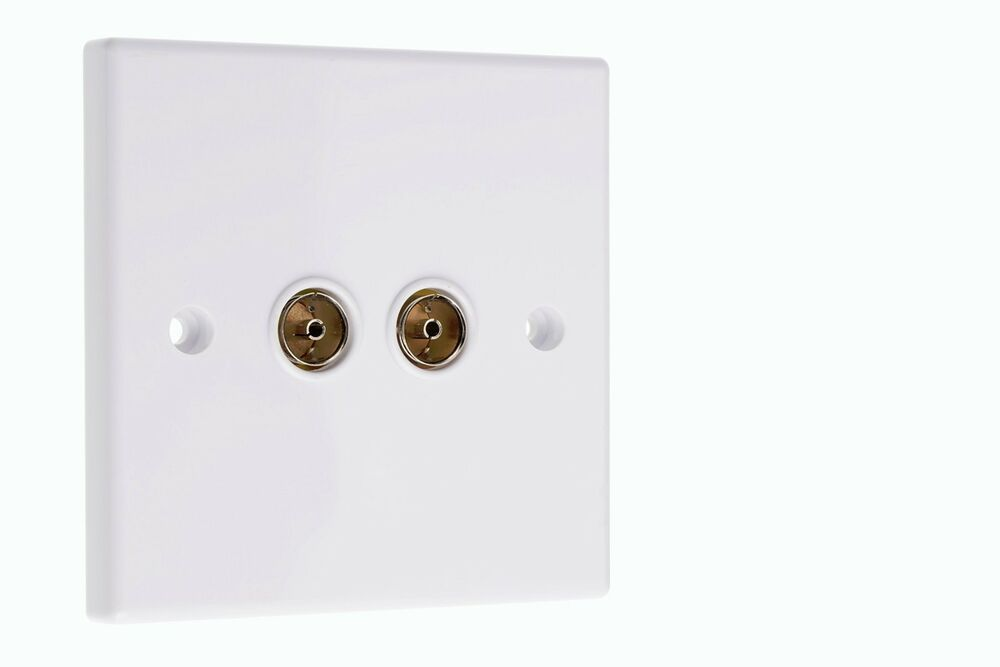 Coaxial Wall Mount : Double aerial wall face plate tv coaxial coax sockets ebay