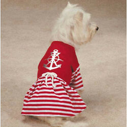 All Paws on Deck Dog Dress Anchor Pet Red Nautical Sailor  XXS - L