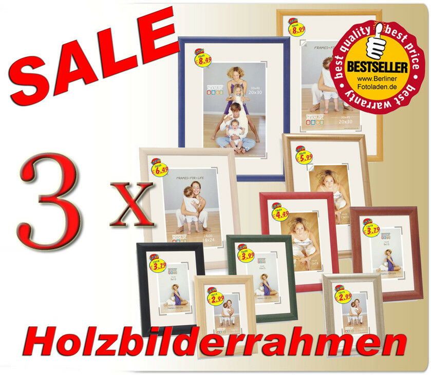 3x bilderrahmen holz 10x15 13x18 20x30 30x40 30x45 40x50 40x60 s40 ebay. Black Bedroom Furniture Sets. Home Design Ideas