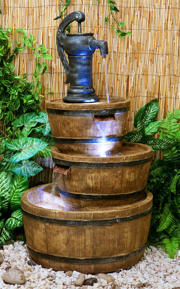 London three tiered barrel pump water feature fountain for Bac fontaine jardin