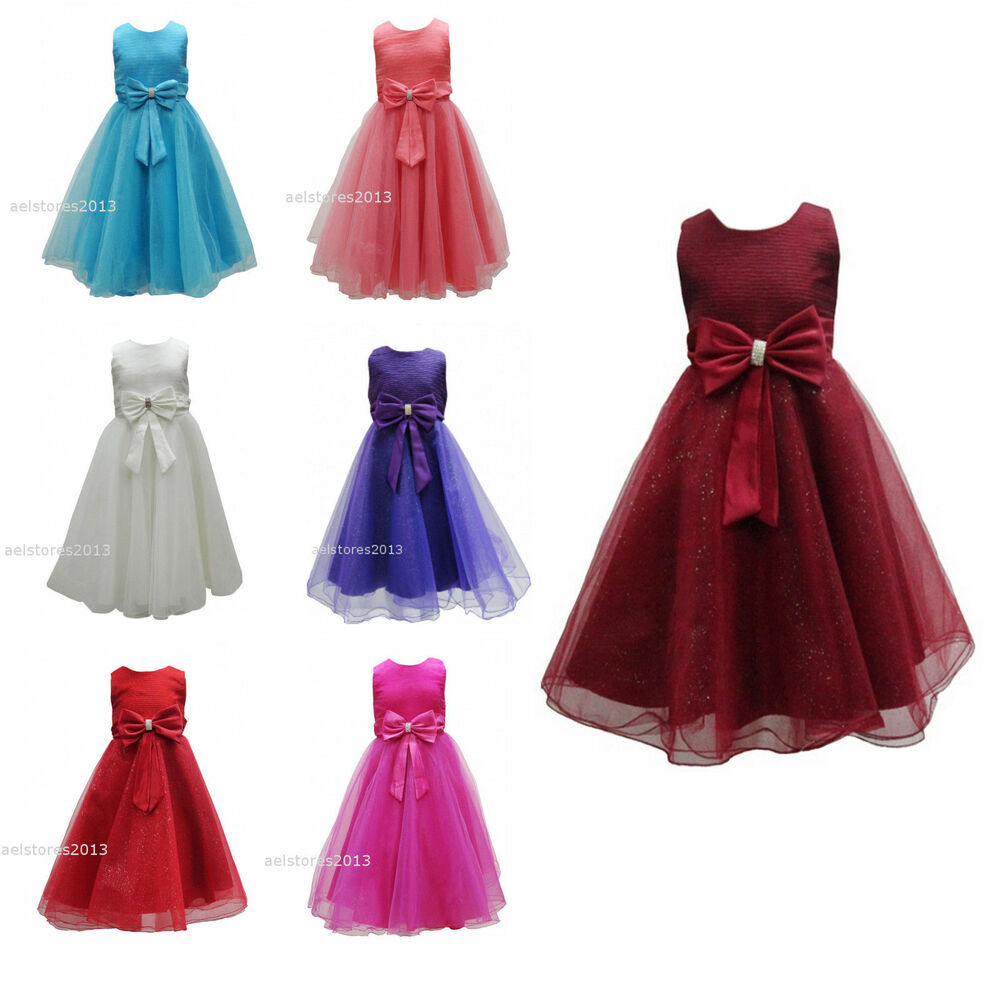 Girls Bridesmaid Dress Baby Flower Kids Party Rose Bow -9956