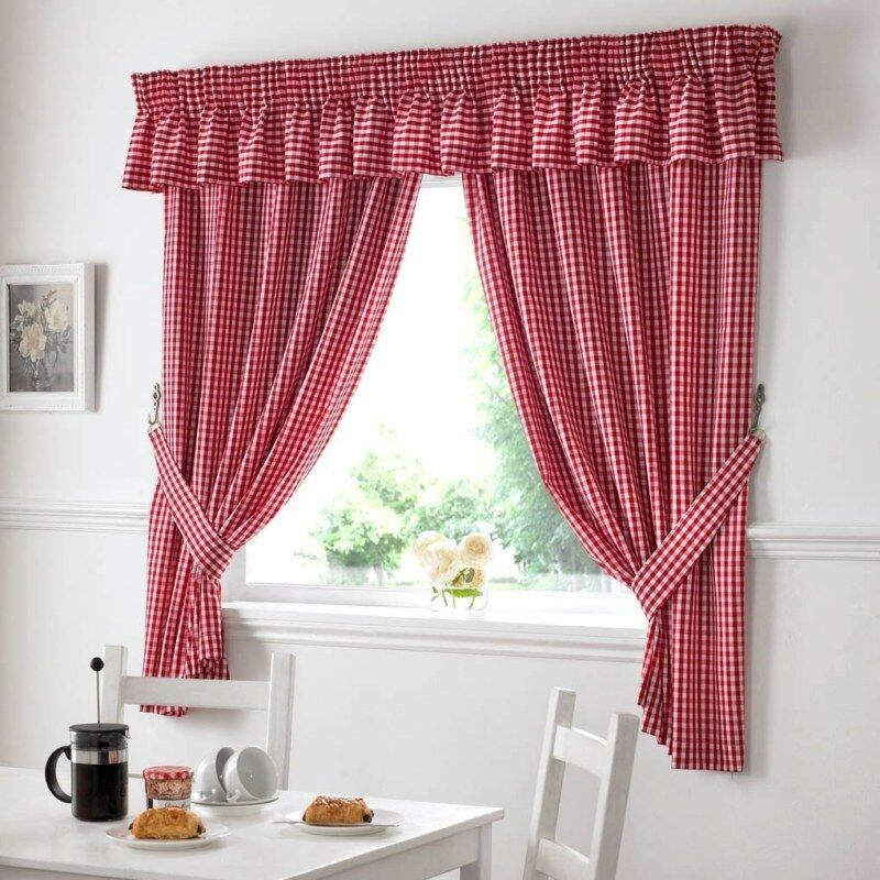 GINGHAM CHECK RED WHITE KITCHEN CURTAINS DRAPES W46 X L48 TIEBACKS INCLUDED