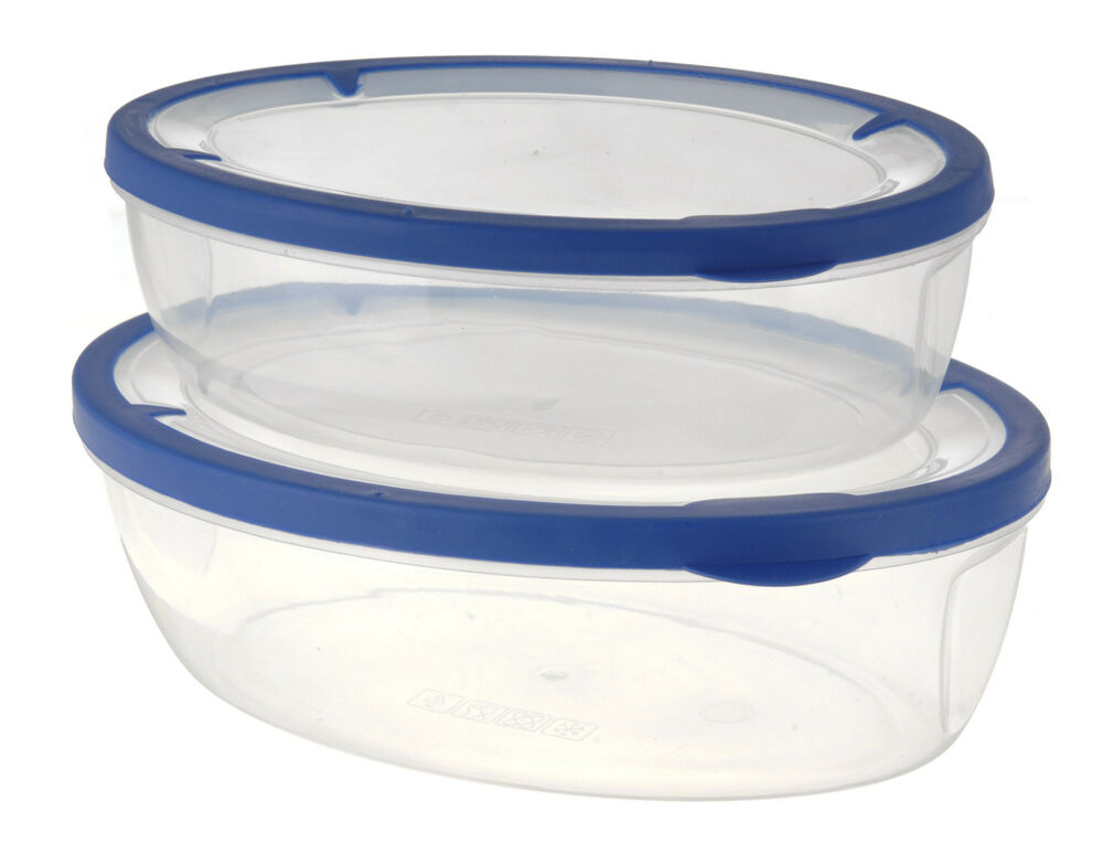 clear plastic food lunch containers with blue silicone rim lids storage boxes ebay. Black Bedroom Furniture Sets. Home Design Ideas