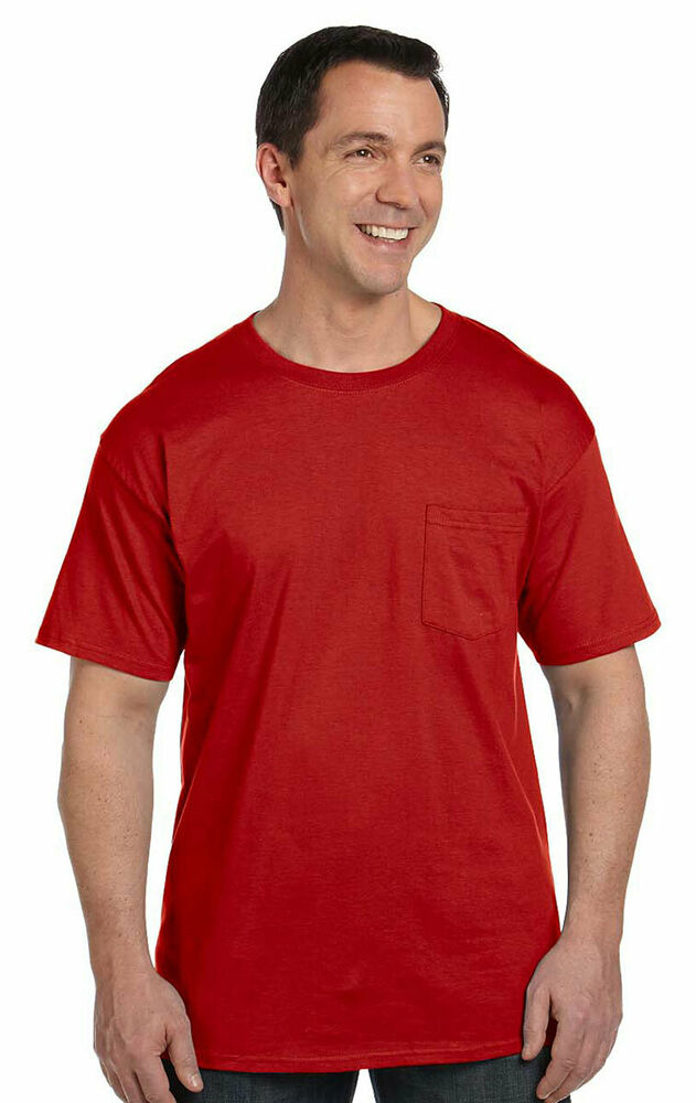 Hanes men 39 s beefy five point left short sleeve chest for Hanes beefy t custom shirts