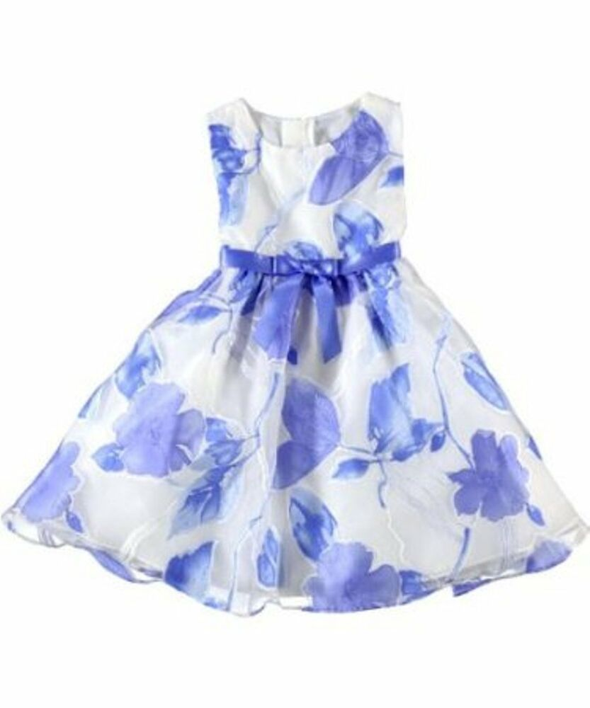 Rare Editions New Blue White Floral Dress Party Wedding