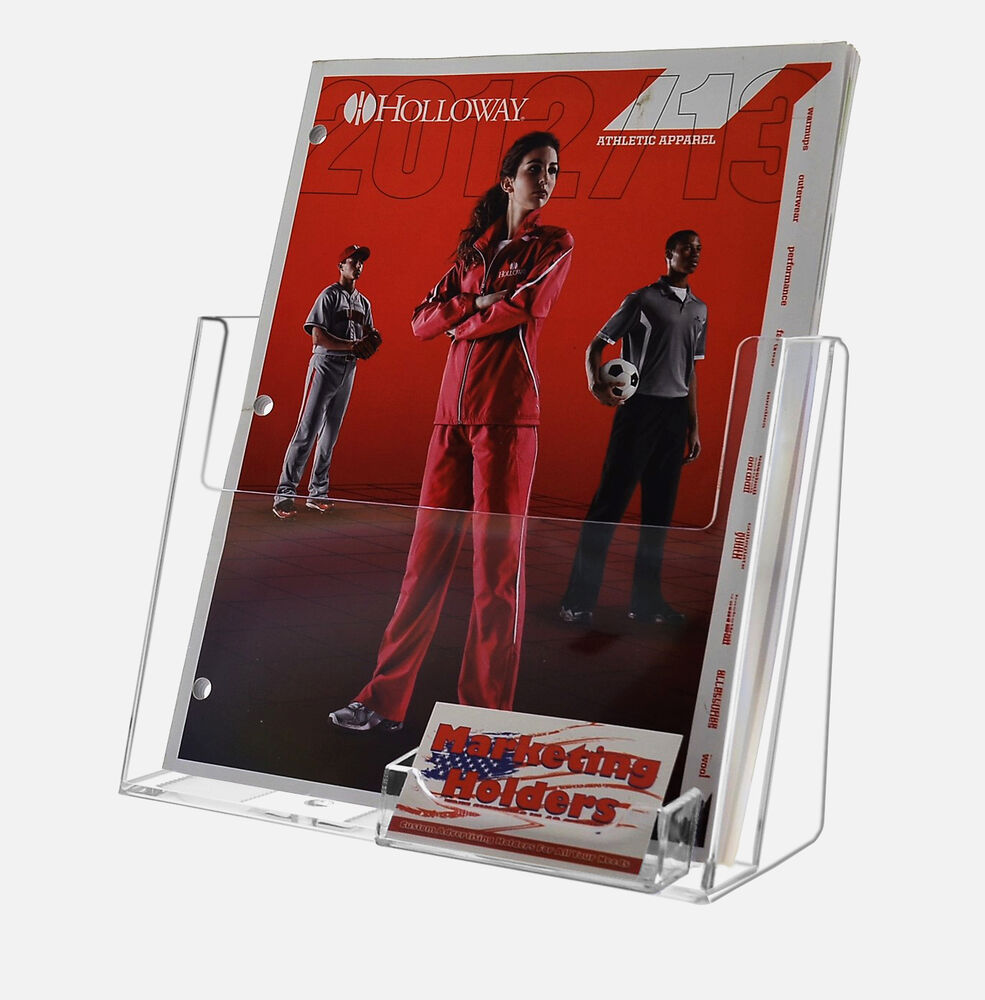 Clear acrylic 85quot x 11quot magazine brochure display with for Flyer holder with business card