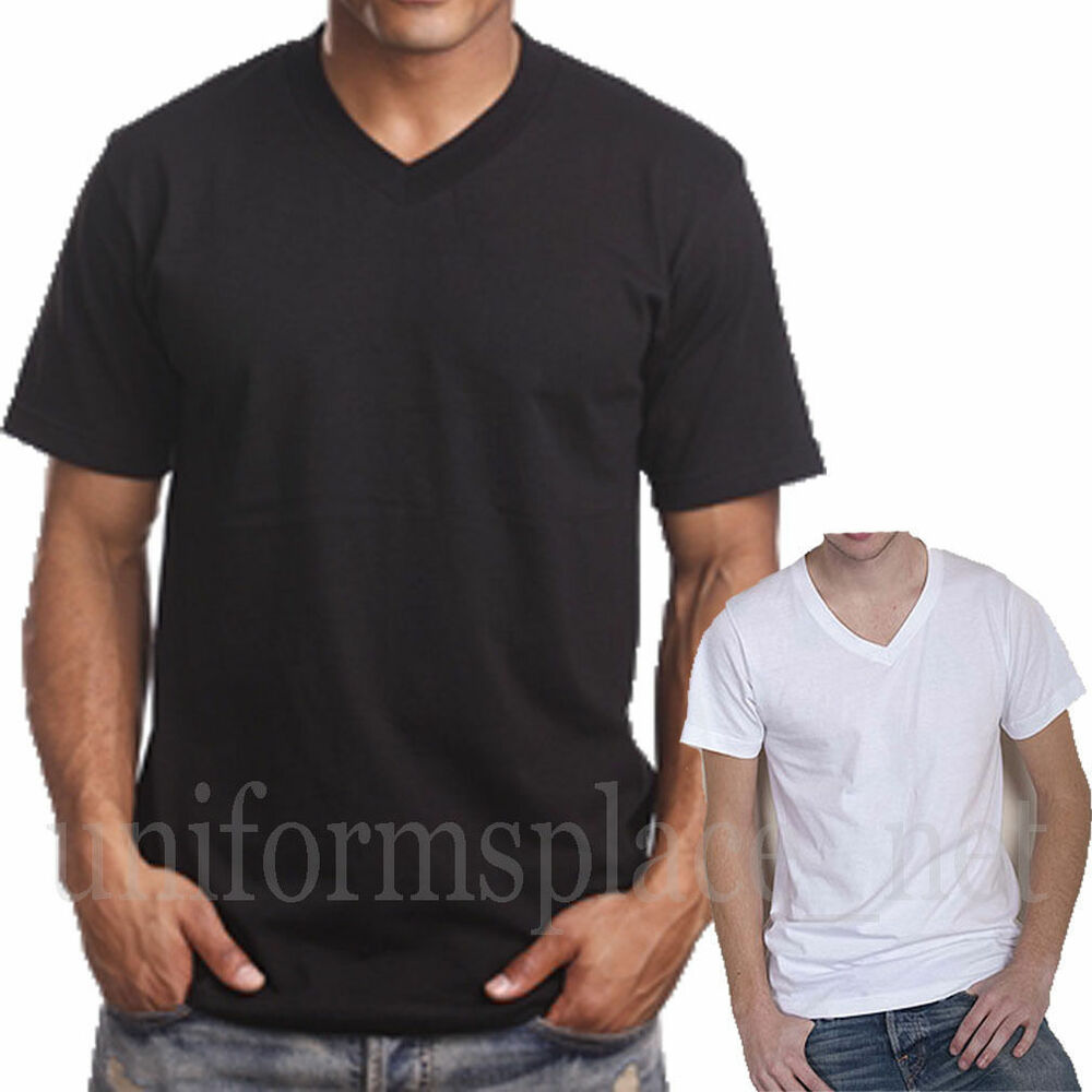 Mens v neck t shirt plain solid color tee top short sleeve for Tahari t shirt mens