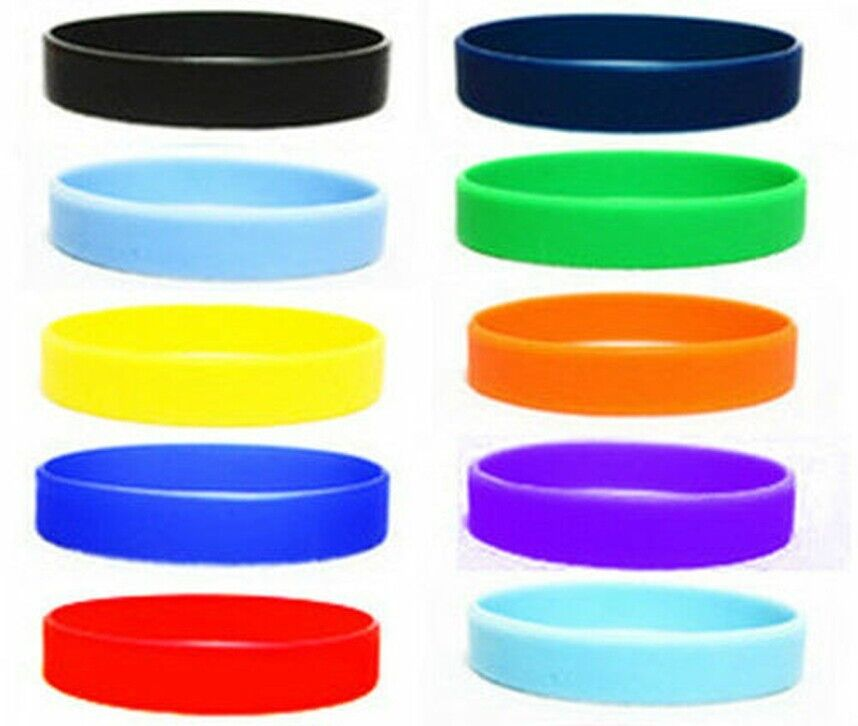 New 2pcs Assorted Solid Colors Silicone Wristbands Wrist ...