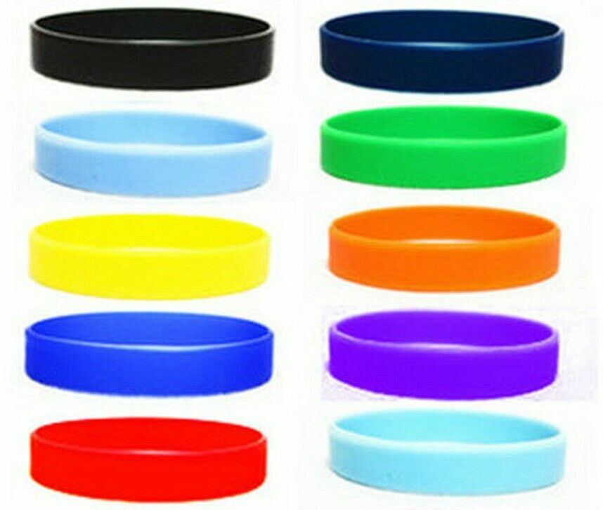 New 2pcs Orted Solid Colors Silicone Wristbands Wrist Bands Rubber Bracelets Ebay