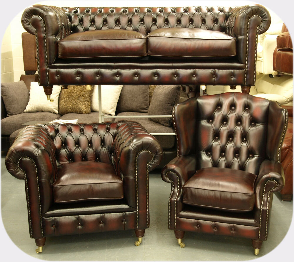 Chesterfield Leather Suite Chair Sofa Brand New Sale Ebay