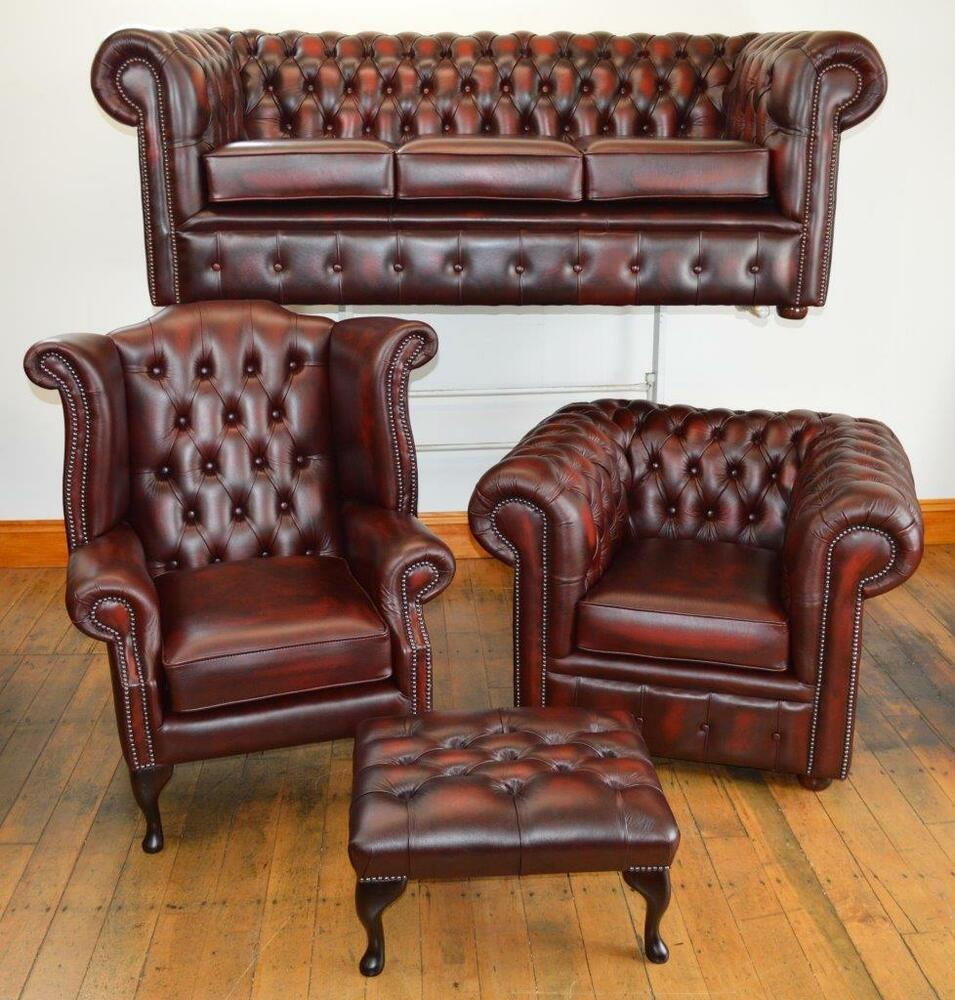 Chesterfield Leather Suite Made In England 3 Colours Ebay