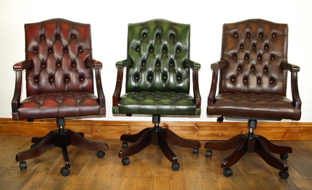 handmade chesterfield leather gainsborough captains chair ebay