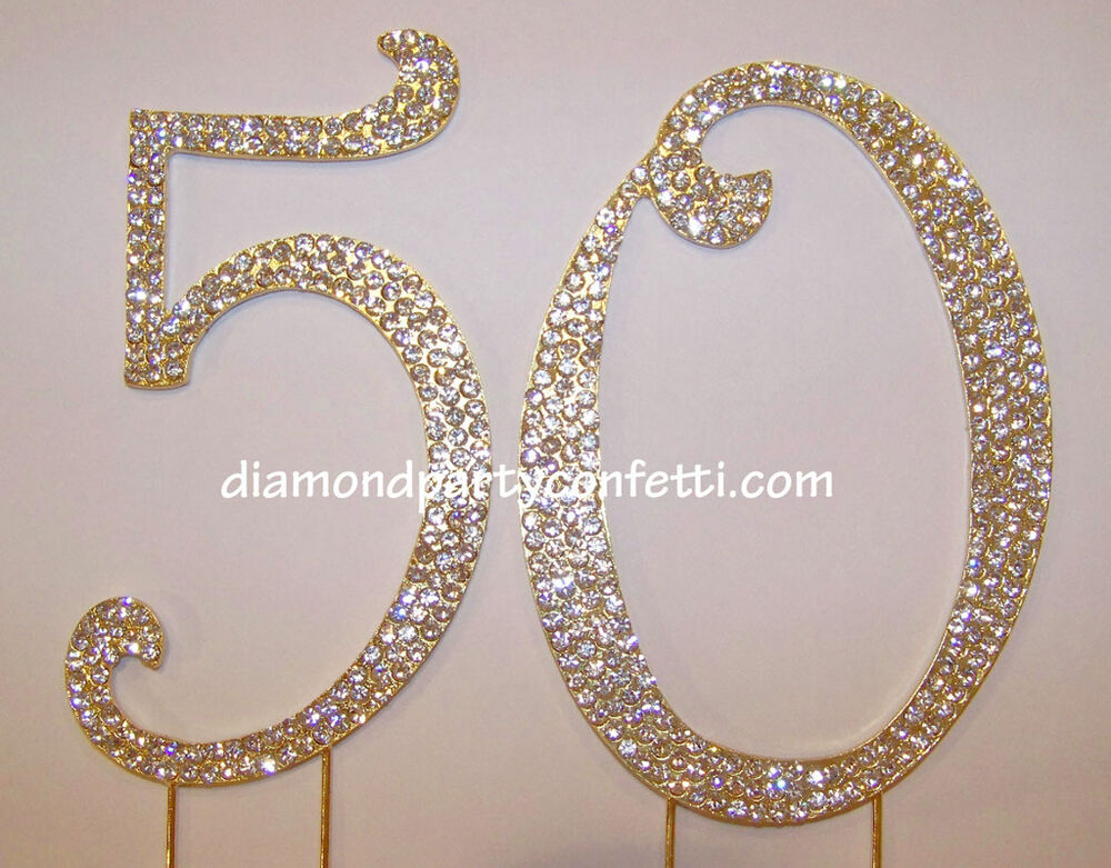 GOLD Rhinestone Crystal Covered 50th 50 Anniversary ...