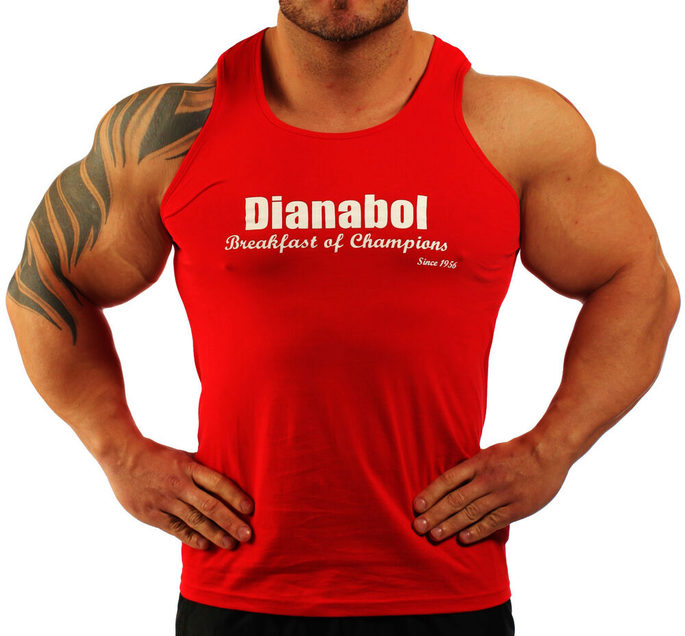 MENS COTTON RED STERIOD DIANABOL BODYBUILDING VEST WORKOUT