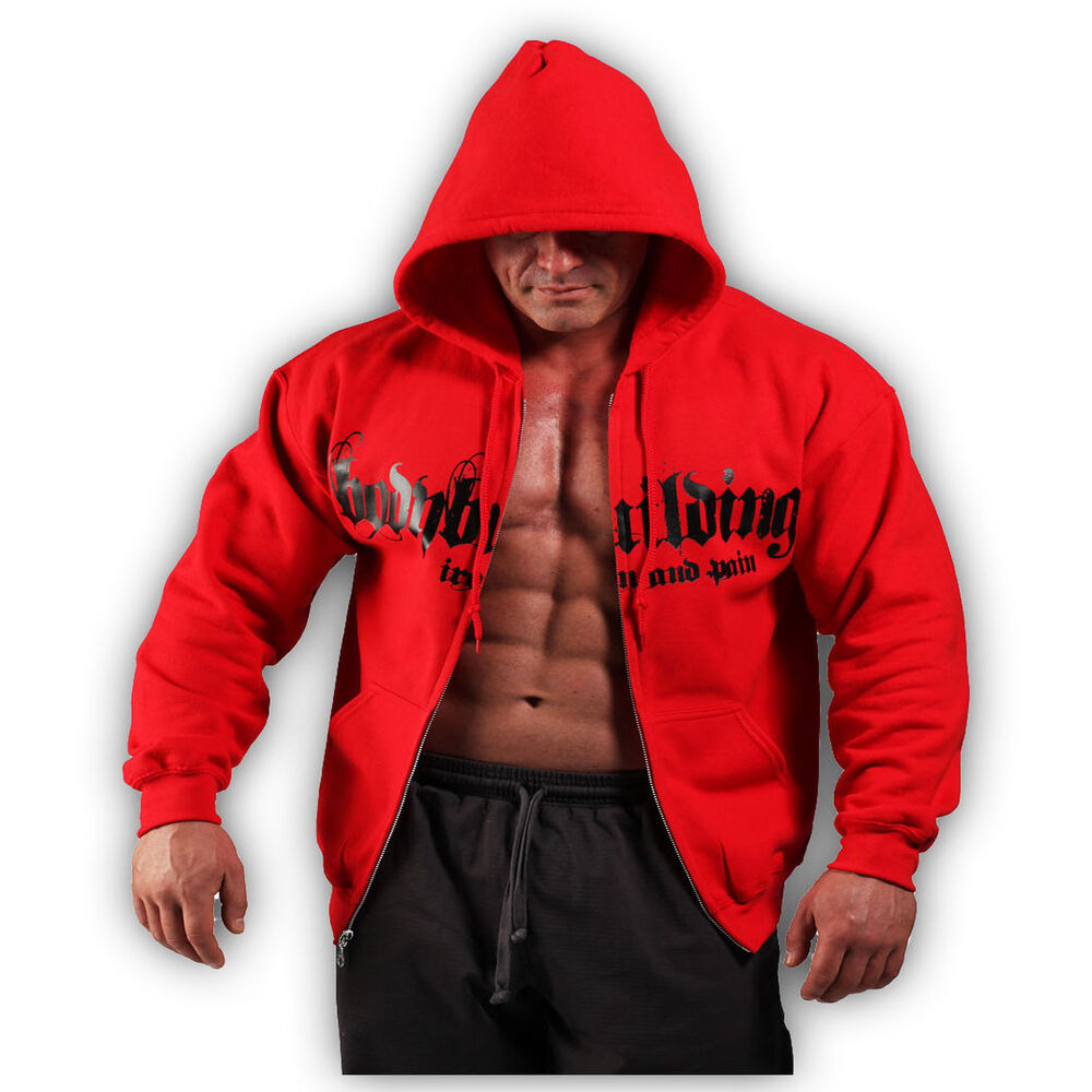 Red Bodybuilding Clothing Zip Hoodie Workout Top G 66 Ebay