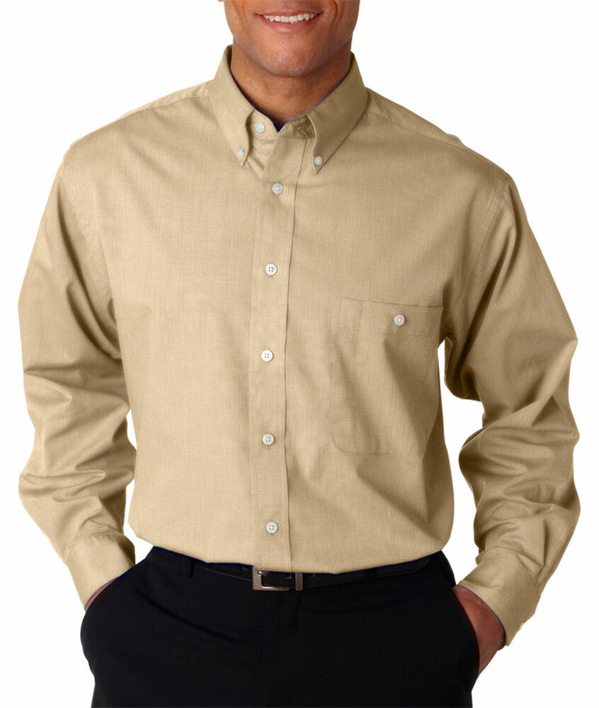 Ultraclub Men 39 S Wrinkle Free Button Down Collar Left Chest