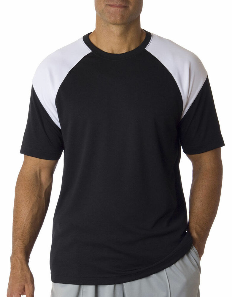 Ultraclub men 39 s moisture wicking contrast panel athletic for Mens athletic cut shirts